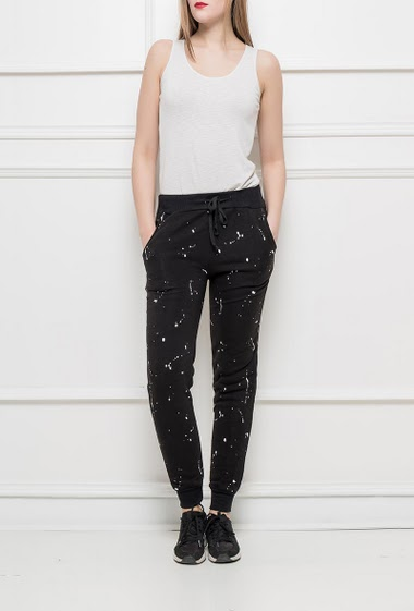 Joggers with elastic waist, painting pattern