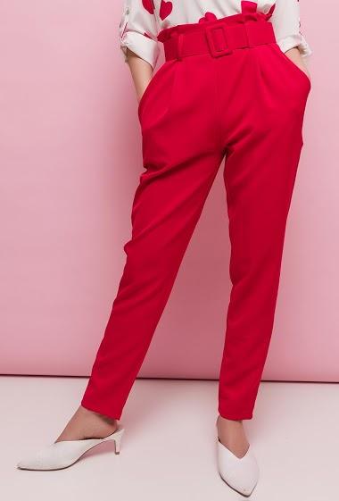 JOLIFLY pantalon taille haute avec ceinture<