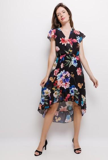 Wrap dress, printed flowers, asymmetric hem. The model measures 176cm, one size corresponds to 10/12(UK) 38/40(FR). Length:125cm(back)