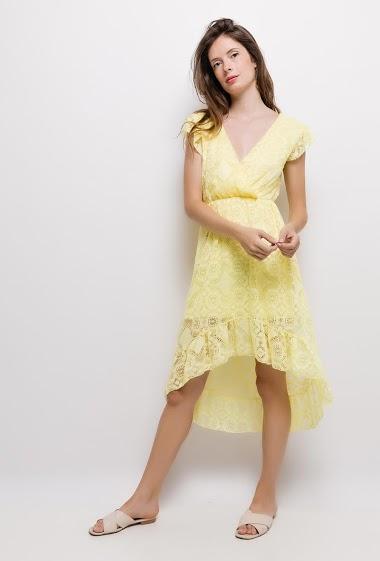 Wrap dress, asymmetric hem. The model measures 176cm, one size corresponds to 10/12(UK) 38/40(FR). Length:120cm(back)
