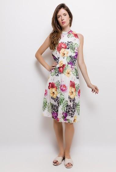 Light dress with print, elastic waist. The model measures 176cm, one size corresponds to 10/12(UK) 38/40(FR). Length:105cm