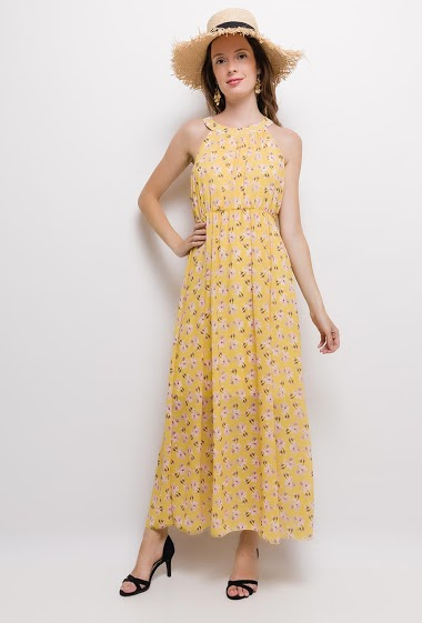 Printed sleeveless dress. The model measures 176cm, one size corresponds to 10/12(UK) 38/40(FR). Length:135cm
