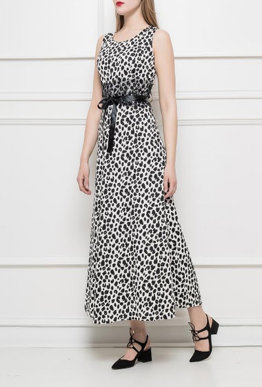 Leopard long dress with waist decorated with lace, satin ribbon to knit