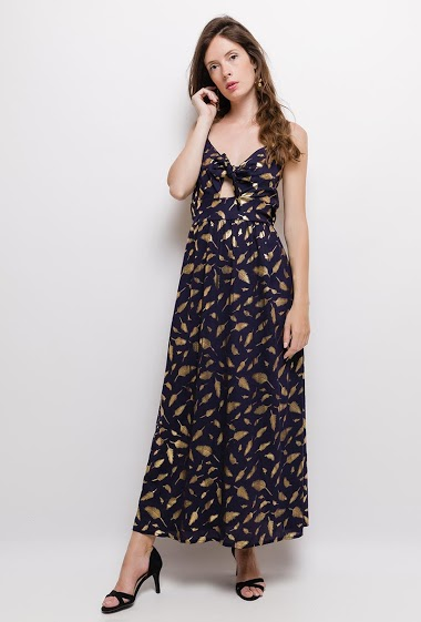Strappy dress, knot front, printed gold feathers. The model measures 176cm and wears S. Length:140cm