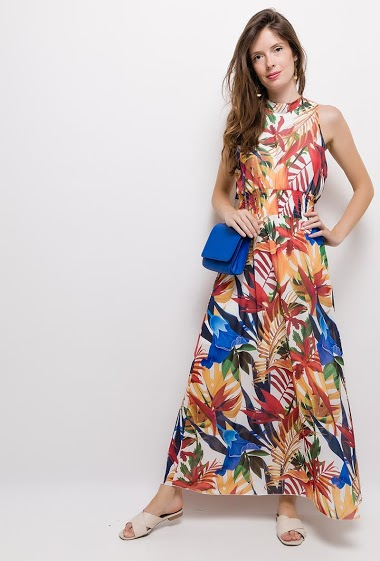 Printed sleeveless dress. The model measures 176cm, one size corresponds to 10/12(UK) 38/40(FR). Length:145cm