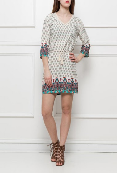 Printed dress or tunic with print, belt with pompons, fancy V neck, regular fit