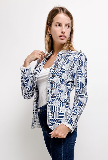 Stretch jacket with buttons. The model measures 171 cm