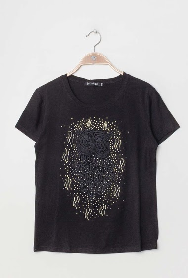 JOLIO & CO embroidered t-shirt with rhinestones FASHION CENTER