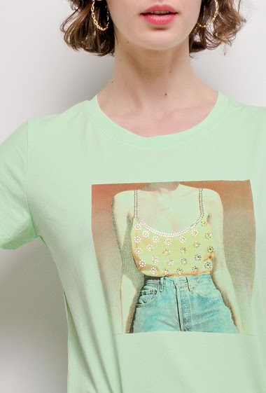JOLIO & CO printed t-shirt with rhinestones FASHION CENTER