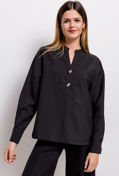 V-neck blouse, buttons at front, long sleeves.  Thick fabric The model measures 171cm and wears S. Length:68cm