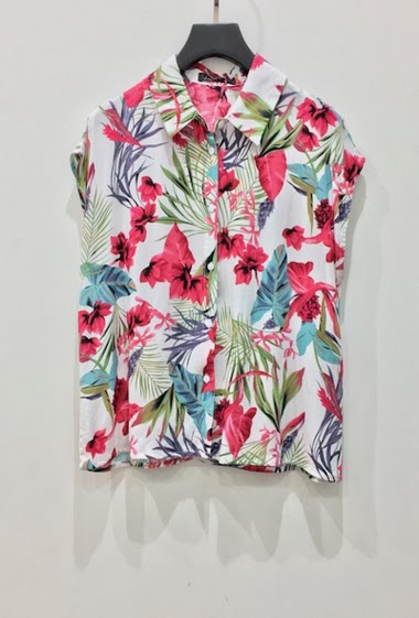 Floral shirt. The model measures 177cm and wears S/M. Length:60cm