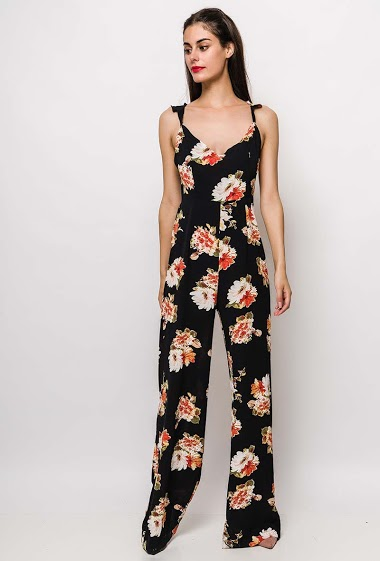 Jumpsuit with wide leg pants, printed flowers, ruffles, V neck, zip closure. The model measures 176cm and wears S/M. Length:160cm