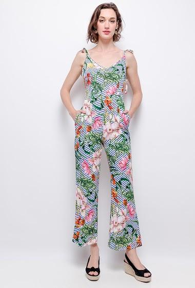Combinaison pantalon fleurie, col V, fermeture par zip dans le dos, bretelles à nouer. La mannequin mesure 177 cm. Longueur: 132cm