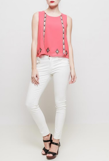 Tank top with round collar, fancy embroideries, lining,  flared fit, fluid fabric