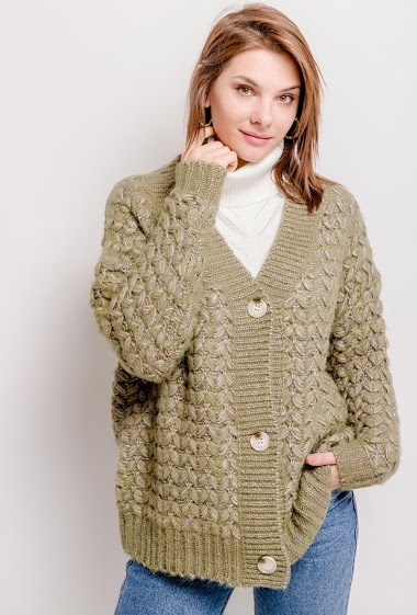 Textured thick cardigan