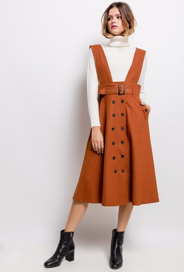 Overall  dress, elastic waist with belt, side pockets, front closure with buttons. The model measures 171cm and wears S. Length:117cm