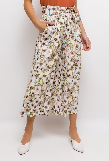 Wide leg pants, printed flowers, elastic waist, pockets.  The model measures 175cm and wears S