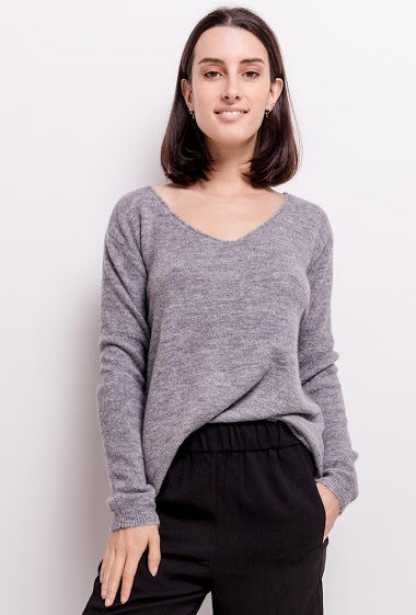 Sweater in wool and mohair mixed