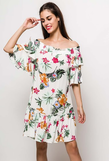 Dress with printed flowers, flared sleeves. The model measures 176cm and wears S. Length:90cm