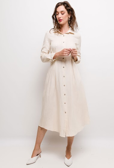 Maxi dress, mix linen, long sleeves roll-up in 3/4. 2 pockets on sides.  The model measures 177cm and wears S. Length:125cm