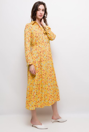 Long shirt dress, printed flowers, long sleeves, soft fabric, adjusted waist The model measures 177cm and wears S. Length:125cm