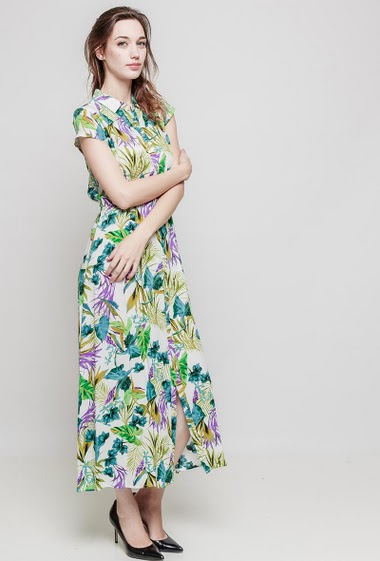 Long dress, flowers pattern, mini sleeves, button placket, adjusted waist - Lenght 140 cm