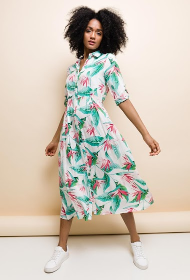 Long shirt dress, printed, long sleeves, soft fabric, adjusted waist. The model measures 177cm and wears S. Length:125cm