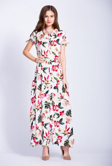 Maxi dress, printed flowers, mini sleeves. The model measures 177cm and wears S. Length:142cm