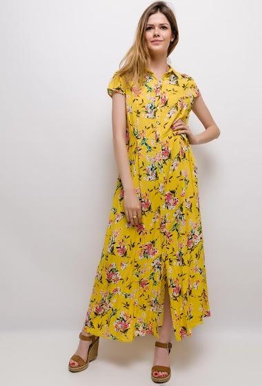 Robe chemise longue fleurie