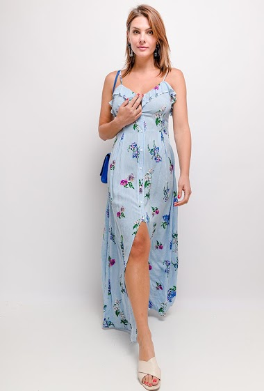 Printed long dress with buttons