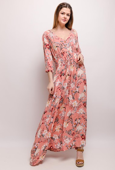 Dress with printed flowers, elastic waist. The model measures 171cm and wears S/8(UK) 36(FR). Length:144cm