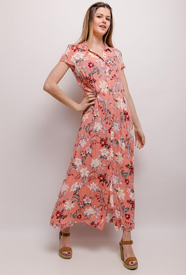 Shirt dress with printed flowers. The model measures 171cm and wears S/8(UK) 36(FR). Length:132cm