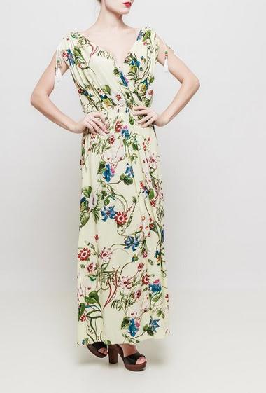 Printed long dress, cross V neck, fancy shoulders with tassels, scoop back, elastic waist