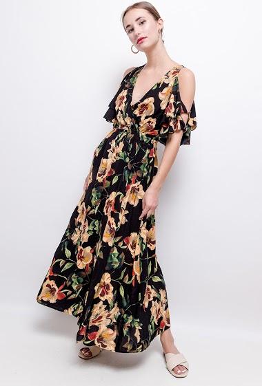 Robe longue fleurie, manches ajourées, col cache-coeur, taille élastique.  La mannequin mesure 171cm .Longueur: 130 cm