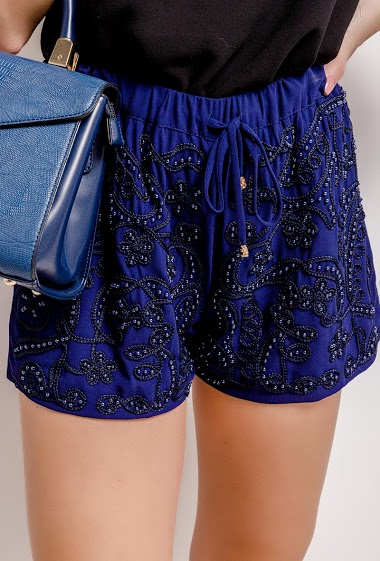 Beaded and embroderies shorts