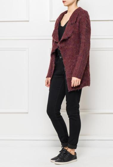 Long open cardigan in knit with pockets