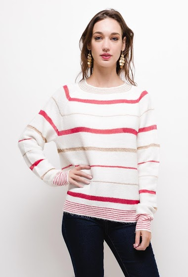 Striped sweater with lurex,The model measures 177cm, one size corresponds to 10/12(UK) 38/40(FR). Length:65cm
