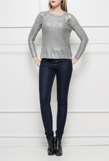 Sweater with eyelets, regular fit