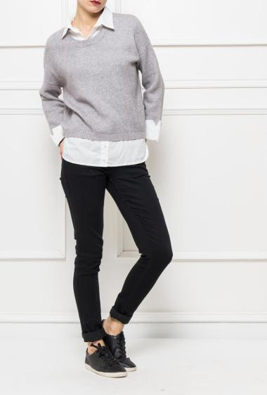 Pullover in knit with integrated shirt