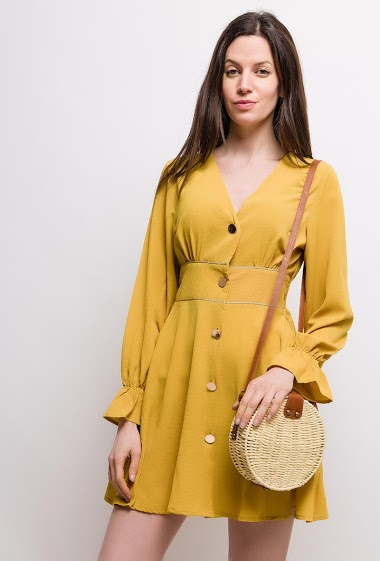 Dress with gold buttons, long sleeves. The model measures 177cm and wears S/M. Length:80cm