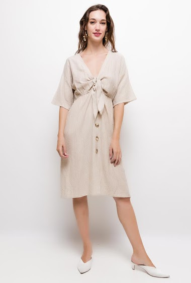 Buttoned wrap dress,The model measures 177cm and wears S/M. Length:100cm