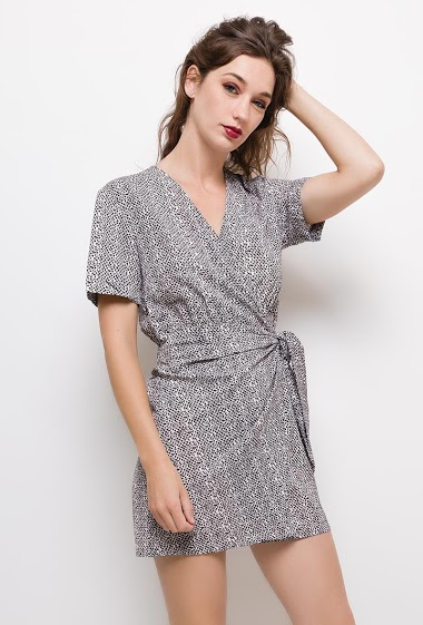 Printed wrap dress,The model measures 177cm and wears S/M. Length:85cm