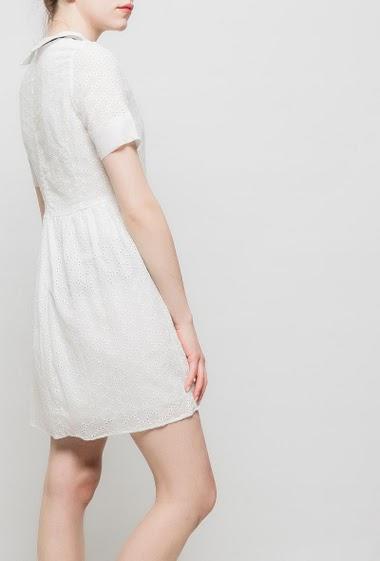 Robe en dentelle, manches courtes, col claudine, dos zippé, col avec nœud amovible contrastant, taille cintrée