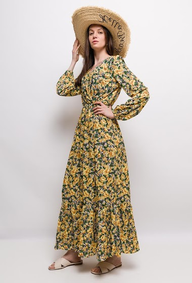 Maxi wrap dress, printed flowers, long sleeves. The model measures 177cm and wears S/M. Length:135cm
