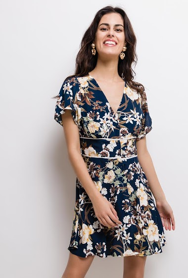 Dress with printed flowers, short sleeves. The model measures 176cm and wears S/M. Length:85cm