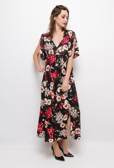 Floral maxi dress,The model measures 177cm and wears S/M. Length:130cm