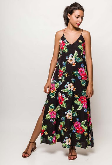 Maxi dress with straps, printed flowers. The model measures 171cm and wears S/M. Length:140cm