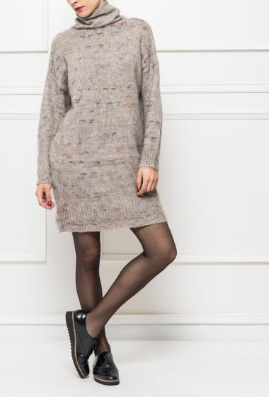Dress in soft knit with turtleneck