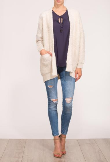 Open cardigan in knit with pockets
