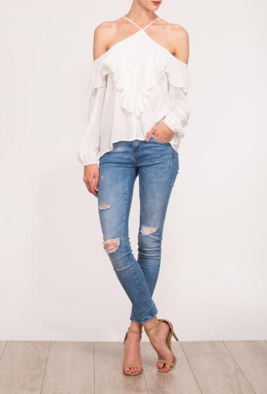Cold shoulder top with ruffles on the front